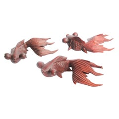 Hand Carved Japanese Rosewood Koi Fish Sculptures