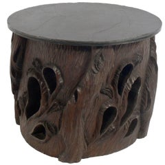 Hand-Carved Japanese Stump Table with Slate Top