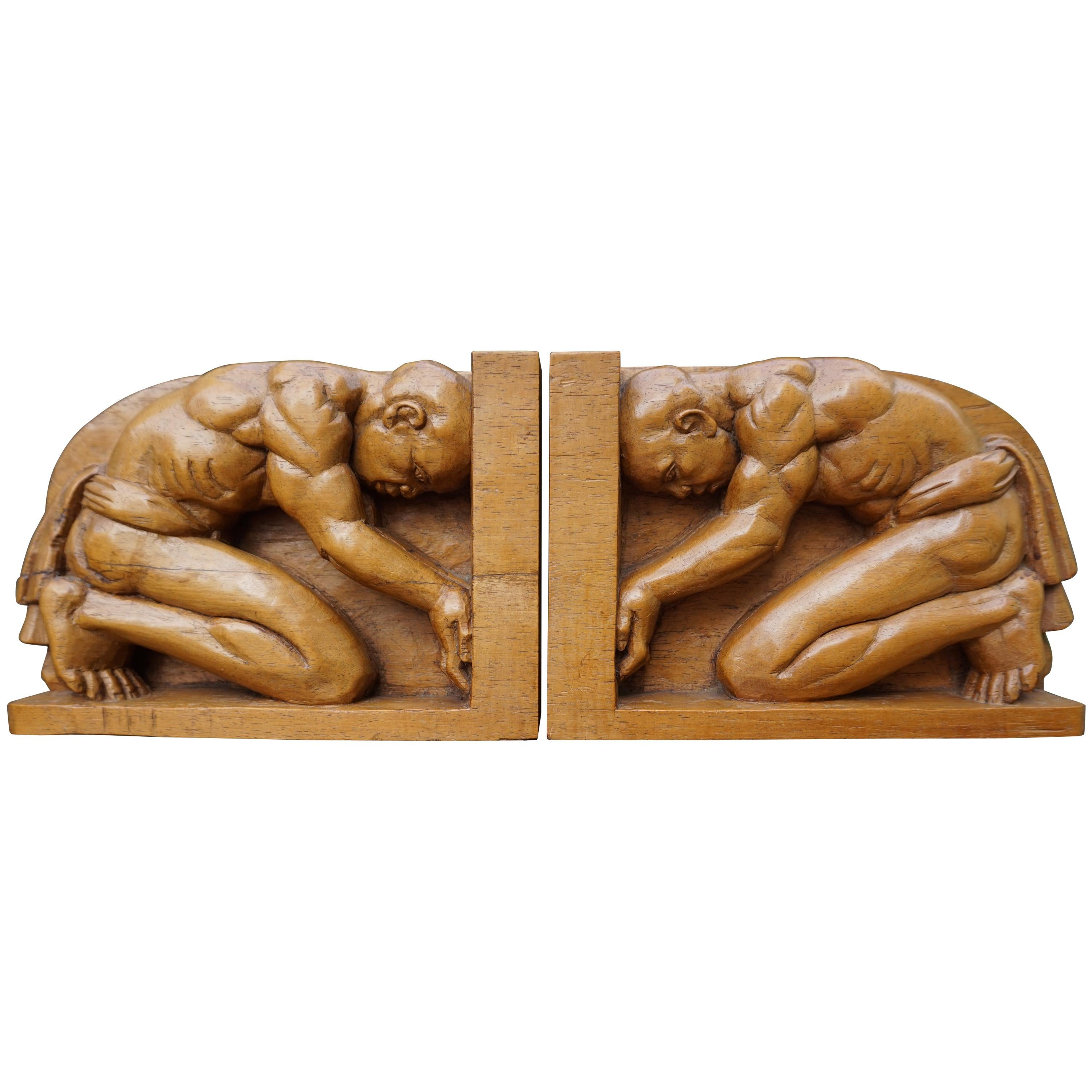 Hand-Carved Jati Wood Arts & Crafts Bookends with Indigenous Male Sculptures