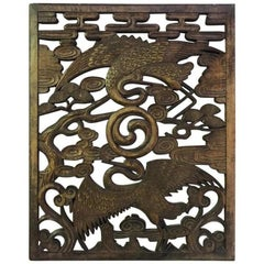 Hand Carved Korean Wood Panel of Cranes