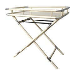 Hand Carved Lacquered Creamy White Bamboo w/ Chrome Accents Tray & Folding Stand