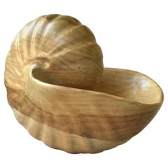Hand Carved Large Wood Seashell