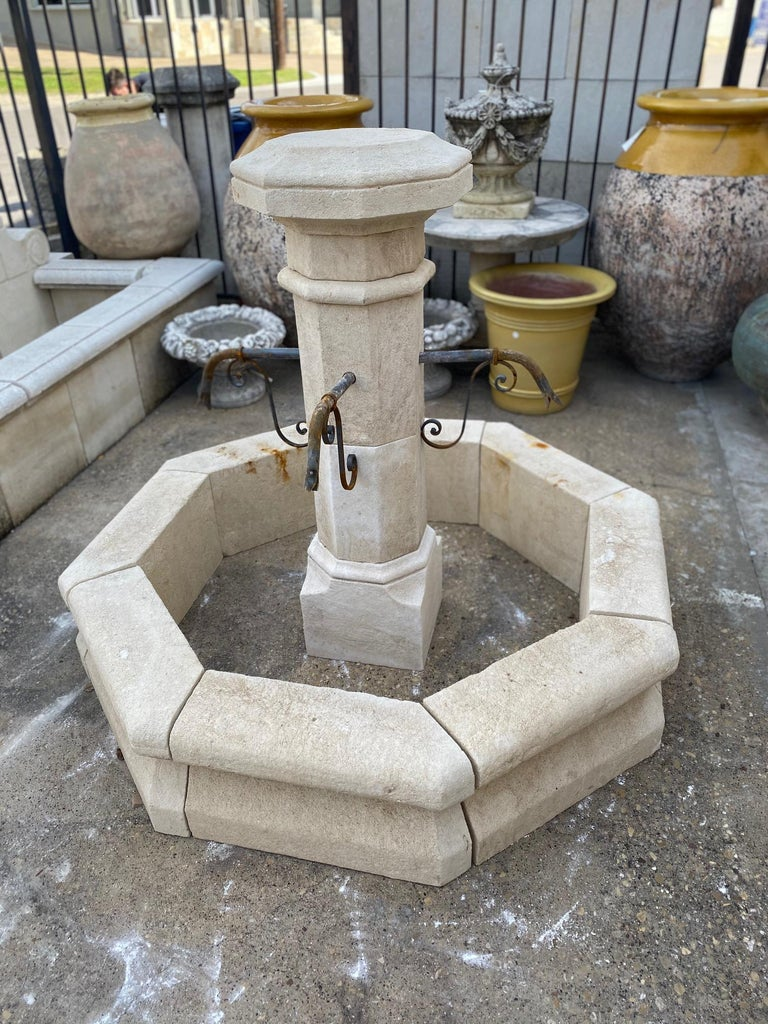 French Hand Carved Limestone Central Fountain For Sale