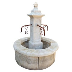 Hand Carved Limestone Central Fountain