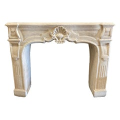 Hand Carved Limestone Mantel
