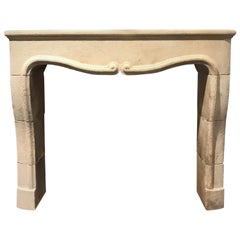 Hand Carved Limestone Mantel