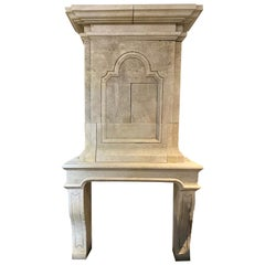 Hand Carved Limestone Mantel with Trumeau