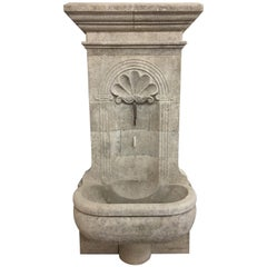 Hand Carved Limestone Wall Fountain