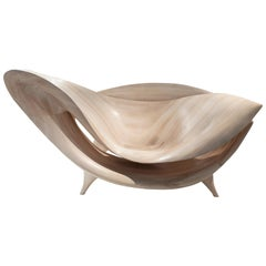 Hand-Carved 'L'Infini Chair' in Bleached Maple by Gildas Berthelot
