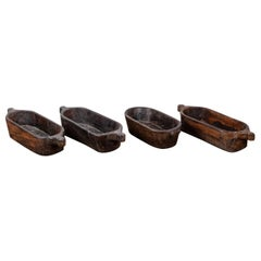 Hand Carved Long Wooden Bowls with Handles, 20th Century
