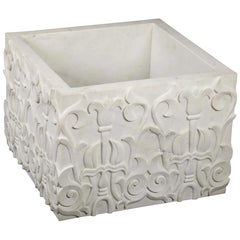 Hand Carved Lotus Marble Table Base