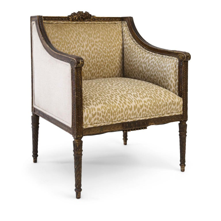 Hand Carved Louis XVI Bergère Amrchair For Sale 7