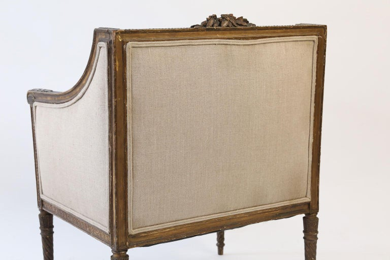 French Hand Carved Louis XVI Bergere For Sale