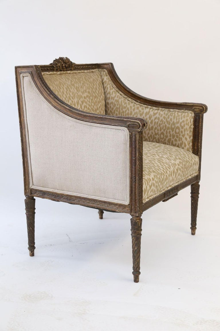 Hand-Carved Hand Carved Louis XVI Bergere For Sale