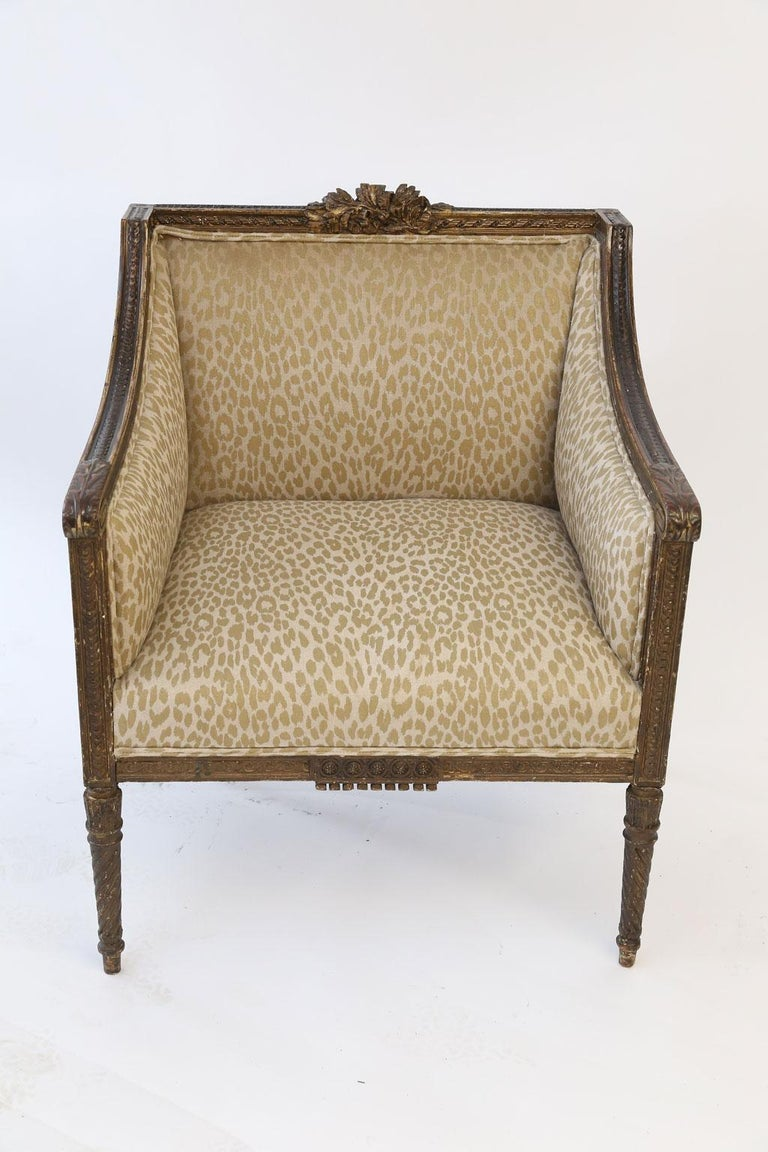 Hand Carved Louis XVI Bergere For Sale 1