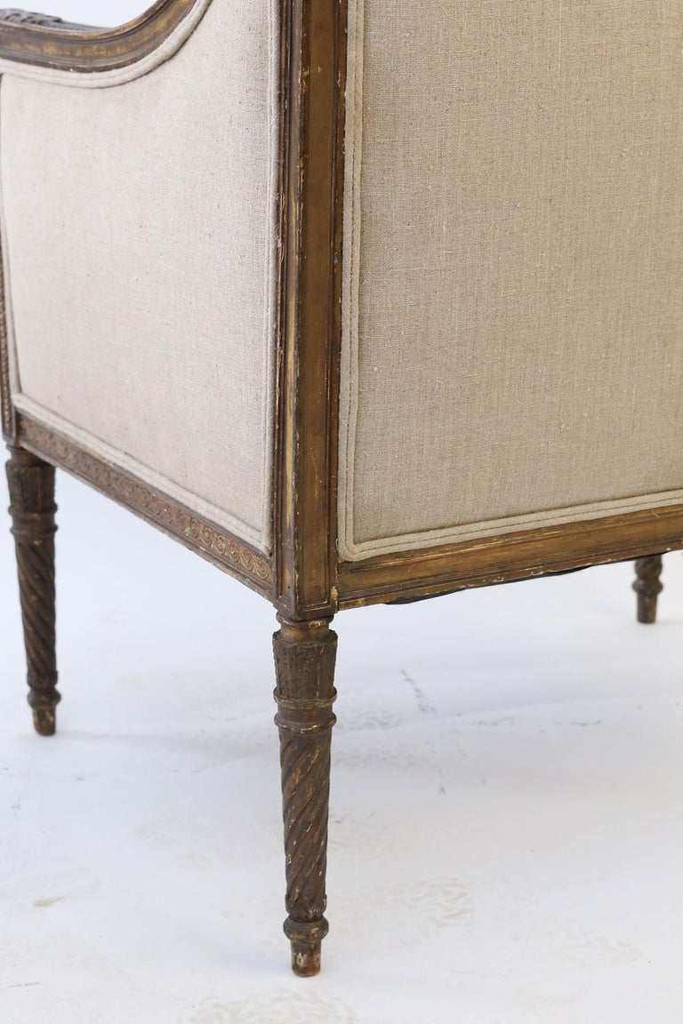 Hand Carved Louis XVI Bergere For Sale 2