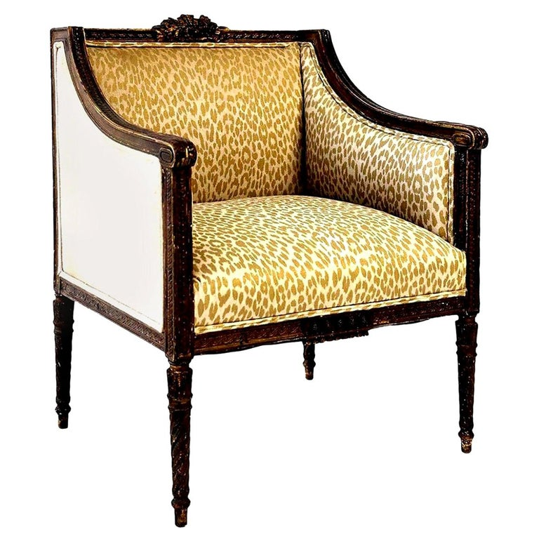 Hand Carved Louis XVI Bergère Amrchair For Sale 8