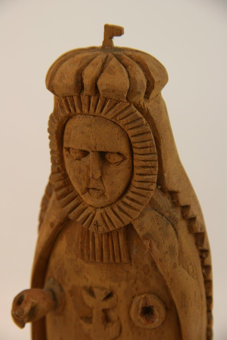 Folk Art Hand Carved Madonna Santos with Putto For Sale 6