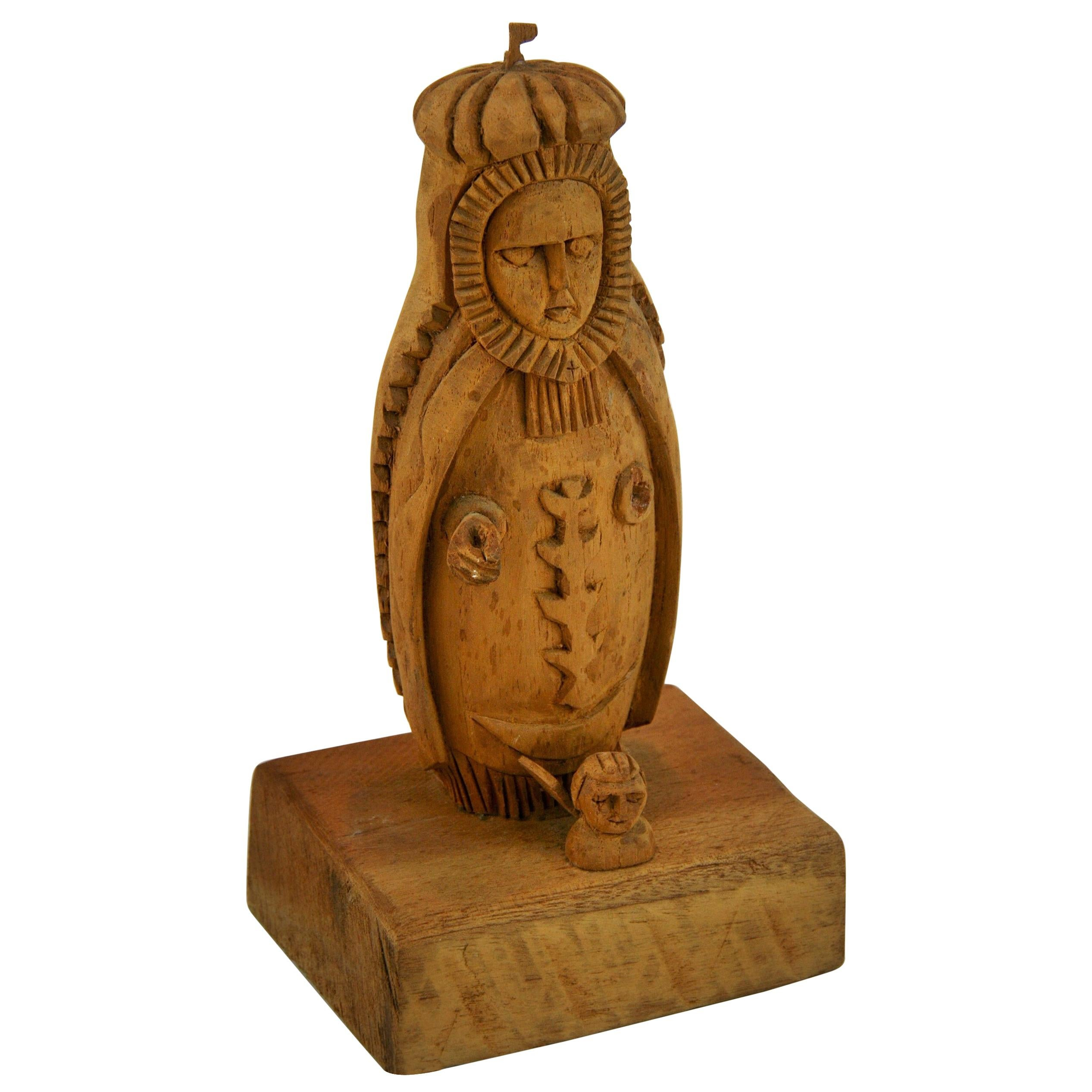 Folk Art Hand Carved Madonna Santos with Putto