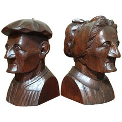 Hand Carved Mahogany Bookends