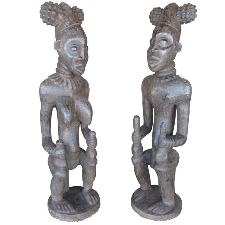 Hand Carved Male And Female African Statues From Cameroon