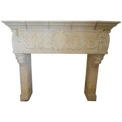 Hand Carved Mantel with Grotesques