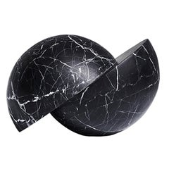 Hand Carved Marble Cambio Sculpture in Nero by Greg Natale