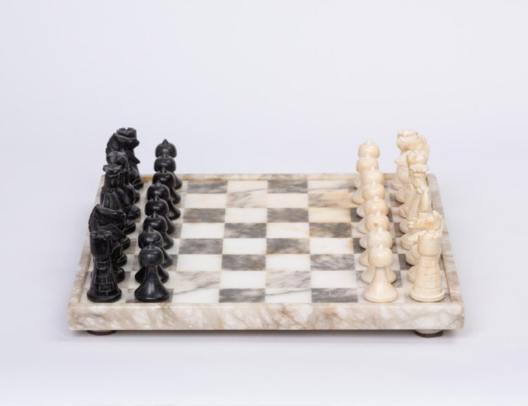 Mid-Century Modern Hand Carved Marble Chess Set