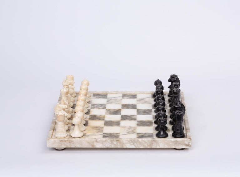 Hand Carved Marble Chess Set In Excellent Condition In Los Angeles, CA