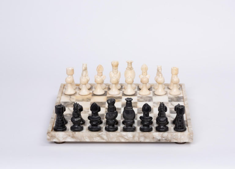 20th Century Hand Carved Marble Chess Set