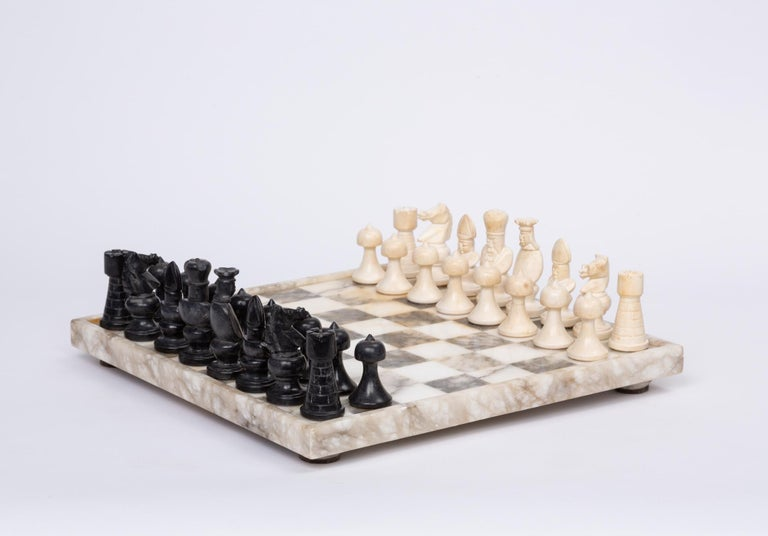 Bone Hand Carved Marble Chess Set