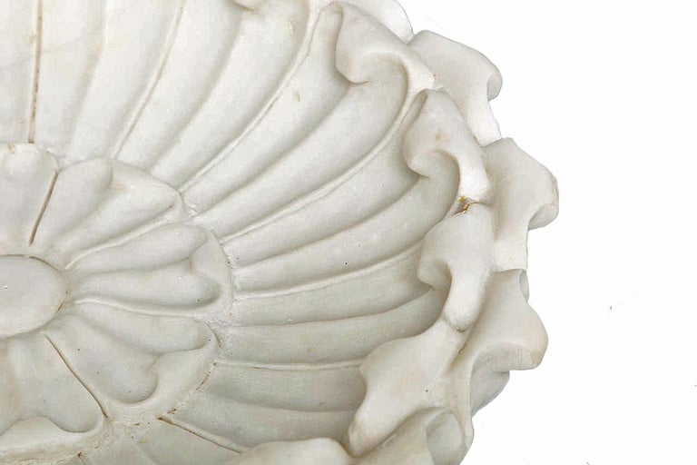Anglo-Indian Hand Carved Marble Flower Bowl, Mid-20th Century For Sale