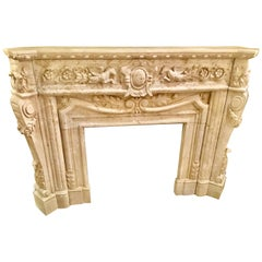 Hand Carved Marble Mantle in Cream Marble with Carving of Pegasus