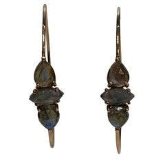 Hand Carved Marquise Cut Labradorite 14 Karat Rose Gold Hoop Earrings