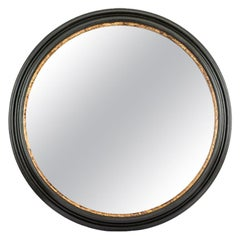 Hand Carved Matte Black and Bronze Gilt Round Mayson Mirror