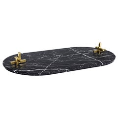 Hand Carved Metropolis Marble Tray