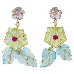 Hand Carved Multi Gemstone Flower Dangle Earrings