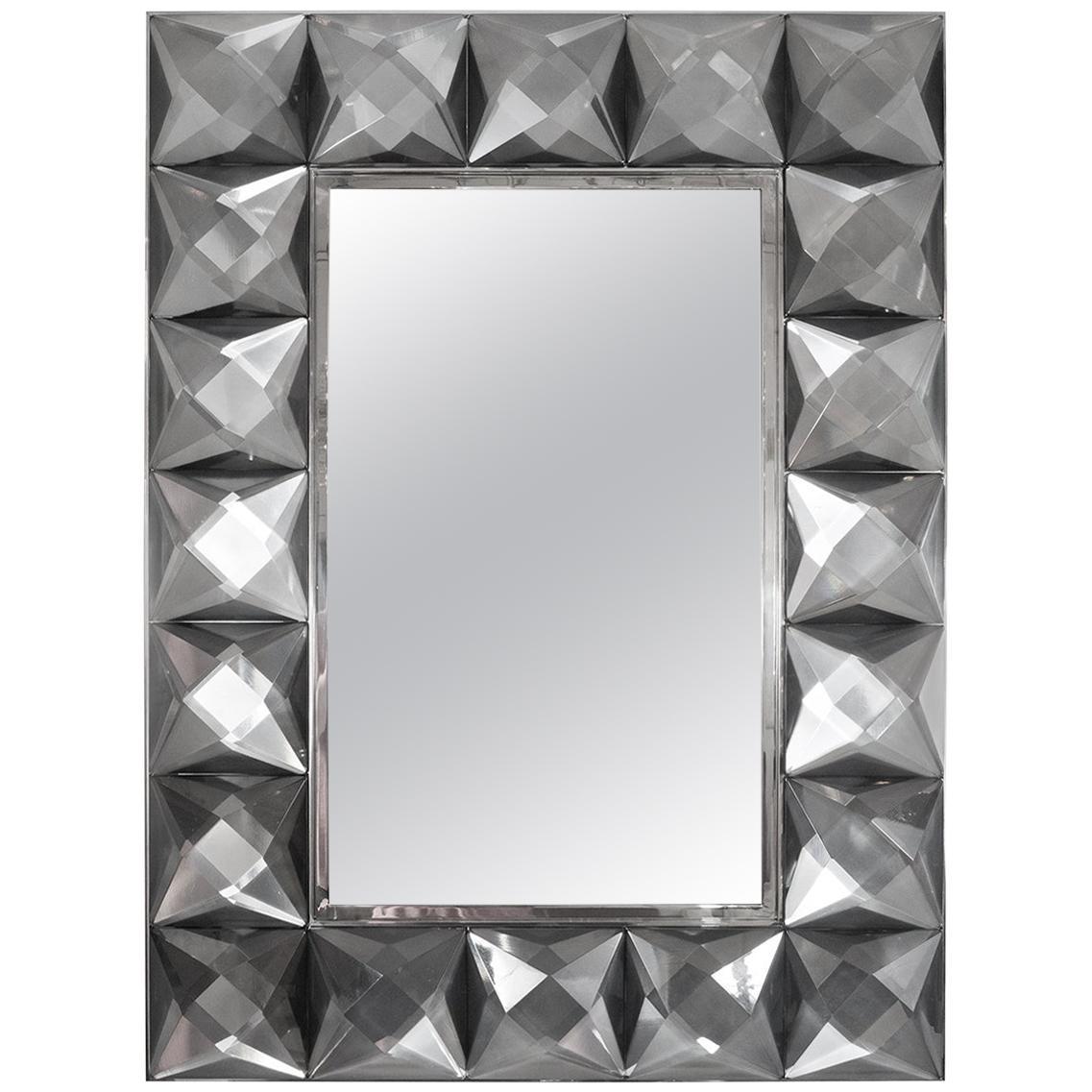 Hand Carved Murano Glass Surround Mirror