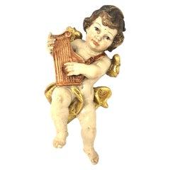 Hand Carved Musician Cherub Angel Playing Harp, 1950s German Oberammergau