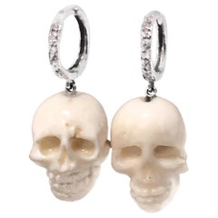 Hand Carved Natural Italian White Coral Skull Earrings with 14k Diamond Hoops