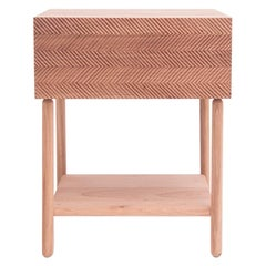 Hand Carved Night Stand in Cedar Wood with One Drawer, Auxiliar Table