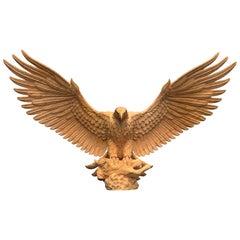 Hand Carved Oak American Eagle Sculpture