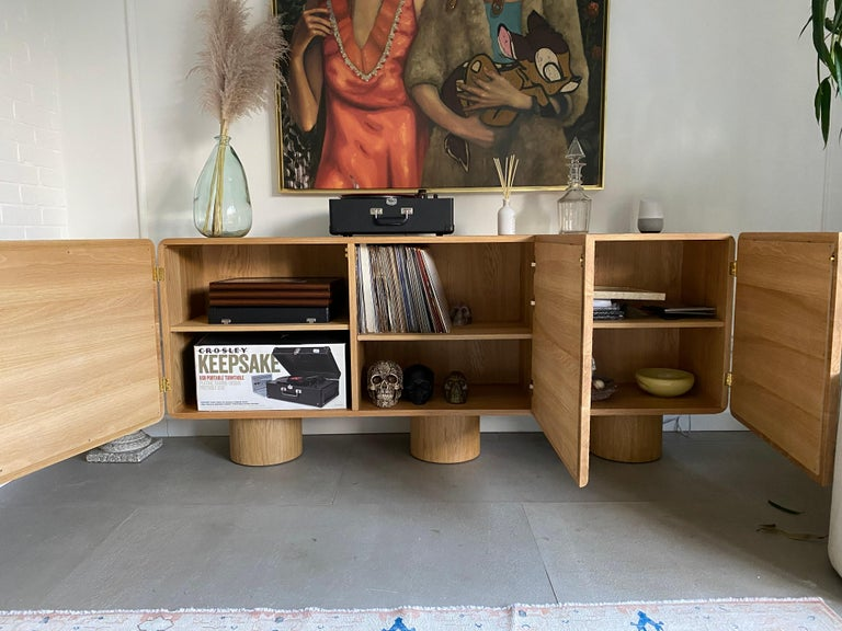Contemporary Hand Carved Oak Códice Credenza by Agnes Studio For Sale