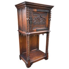 Hand Carved Oak Gothic Revival Single Door Drinks Cabinet with Cast Iron Hinges