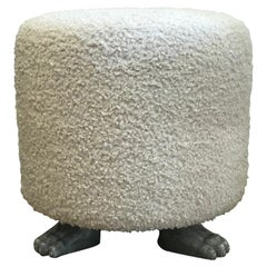 Hand Carved Oak Paw Feet Upholstered Ottoman by Martin & Brocket, Gray and Cream