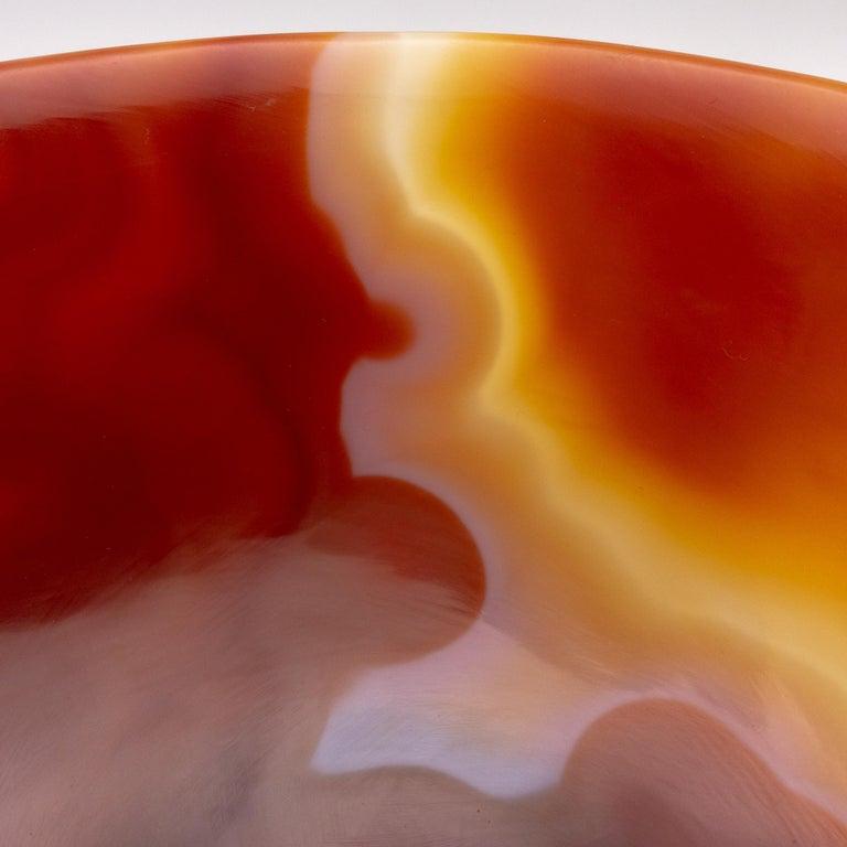 Hand-Carved Hand Carved Orange Agate Semi-Precious Stone Bowl
