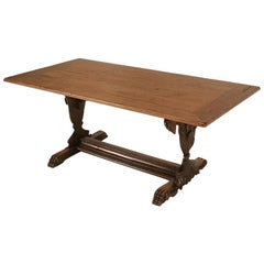 Hand Carved Organic Relief Antique French Solid Walnut Trestle Table