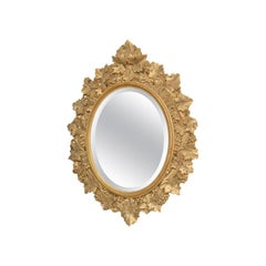 Hand Carved Oval Gold Painted Mirror, 19th Century