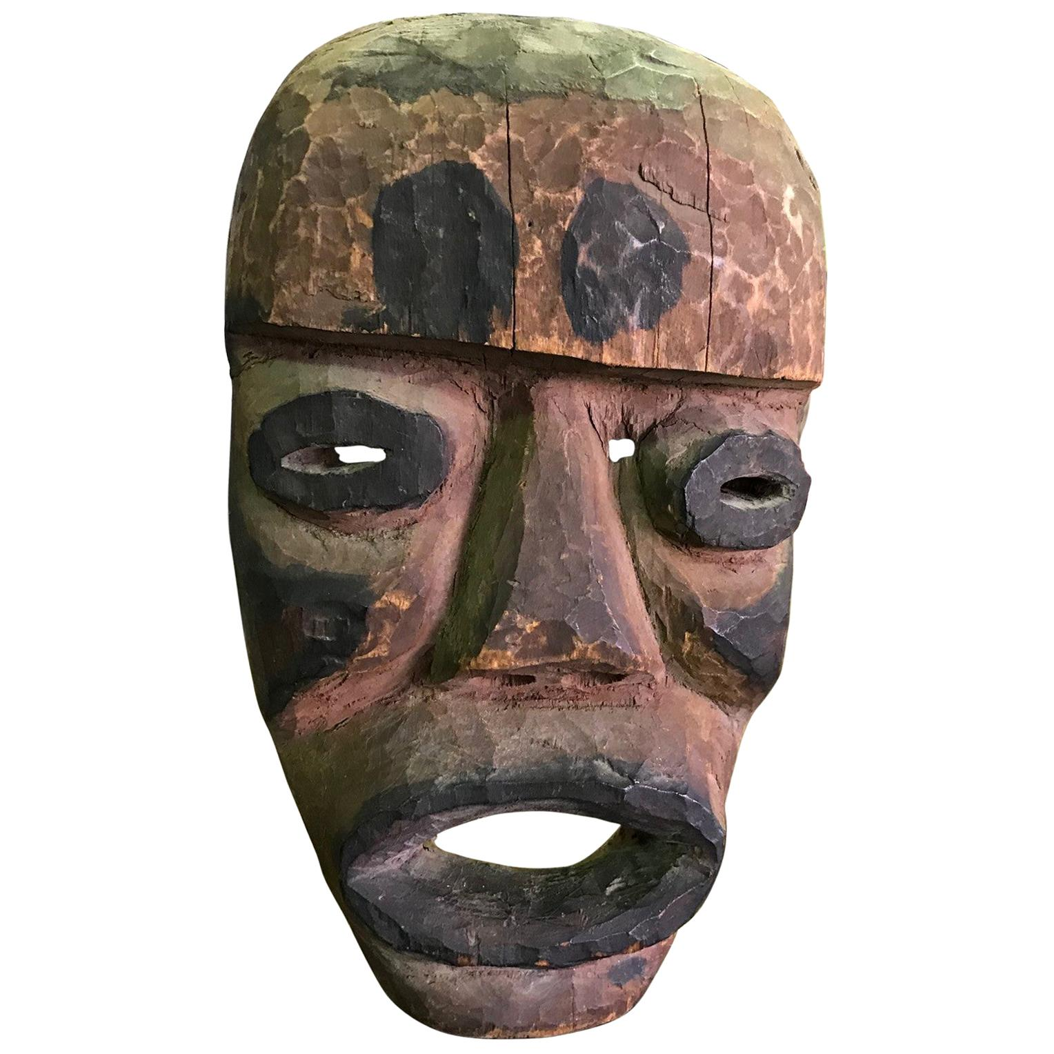 Hand Carved Painted and Pigmented Tribal Mask