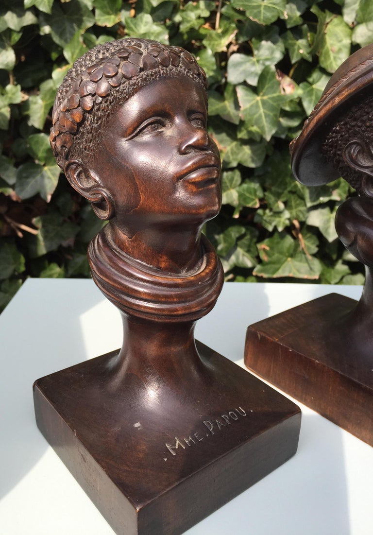 Hand Carved Pair Of 1950S Papua New Guinea Male And Female -6806